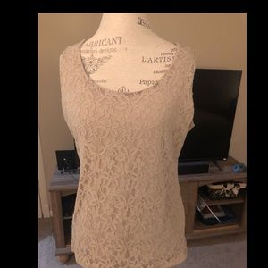 Lace overlay taupe sleeveless top
